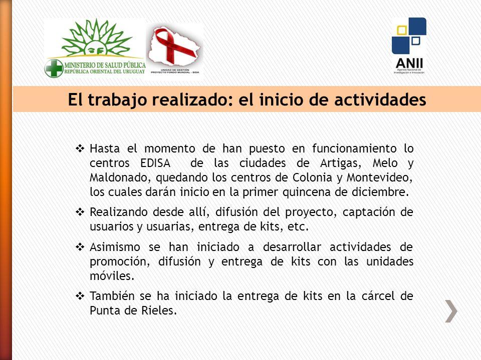 El trabajo realizado: el inicio de actividades Hasta el momento de han puesto en funcionamiento lo centros EDISA de las ciudades de Artigas, Melo y Maldonado, quedando los centros de Colonia y Montevideo, los cuales darán inicio en la primer quincena de diciembre.