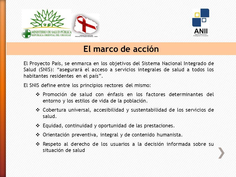 El marco de acción El Proyecto País, se enmarca en los objetivos del Sistema Nacional Integrado de Salud (SNIS): asegurará el acceso a servicios integrales de salud a todos los habitantes residentes en el país.