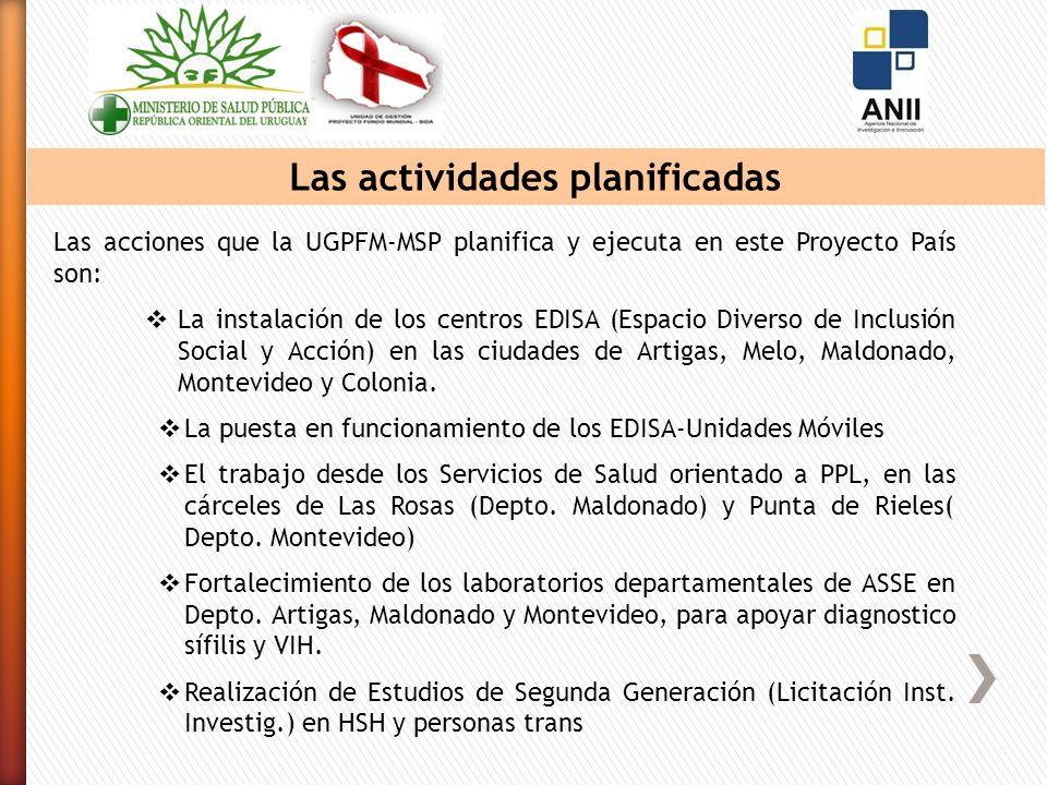 Las actividades planificadas Las acciones que la UGPFM-MSP planifica y ejecuta en este Proyecto País son: La instalación de los centros EDISA (Espacio Diverso de Inclusión Social y Acción) en las ciudades de Artigas, Melo, Maldonado, Montevideo y Colonia.