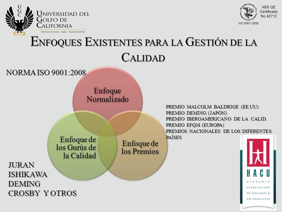 Enfoque Normalizado Enfoque de los Premios Enfoque de los Gurús de la Calidad NORMA ISO 9001:2008 PREMIO MALCOLM BALDRIGE (EE.UU) PREMIO DEMING (JAPÓN) PREMIO IBEROAMERICANO DE LA CALID.