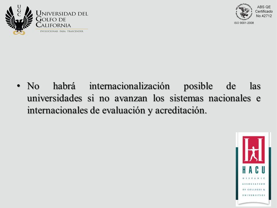 No habrá internacionalización posible de las universidades si no avanzan los sistemas nacionales e internacionales de evaluación y acreditación.
