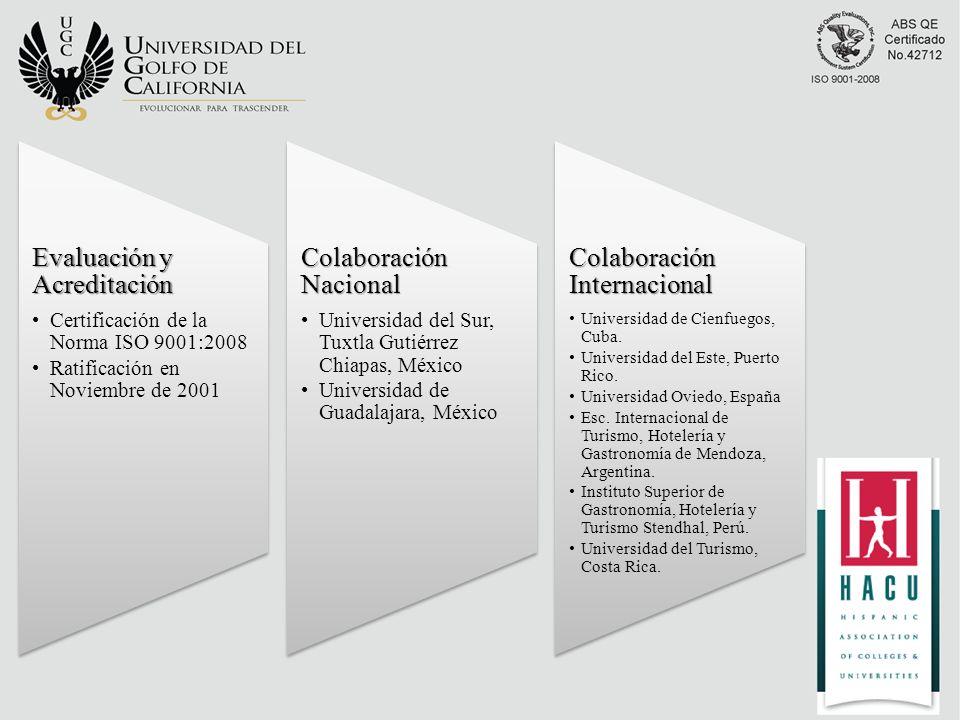 Evaluación y Acreditación Certificación de la Norma ISO 9001:2008 Ratificación en Noviembre de 2001 Colaboración Nacional Universidad del Sur, Tuxtla Gutiérrez Chiapas, México Universidad de Guadalajara, México Colaboración Internacional Universidad de Cienfuegos, Cuba.