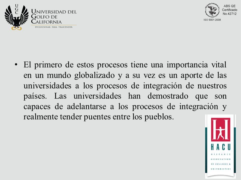 El primero de estos procesos tiene una importancia vital en un mundo globalizado y a su vez es un aporte de las universidades a los procesos de integración de nuestros países.