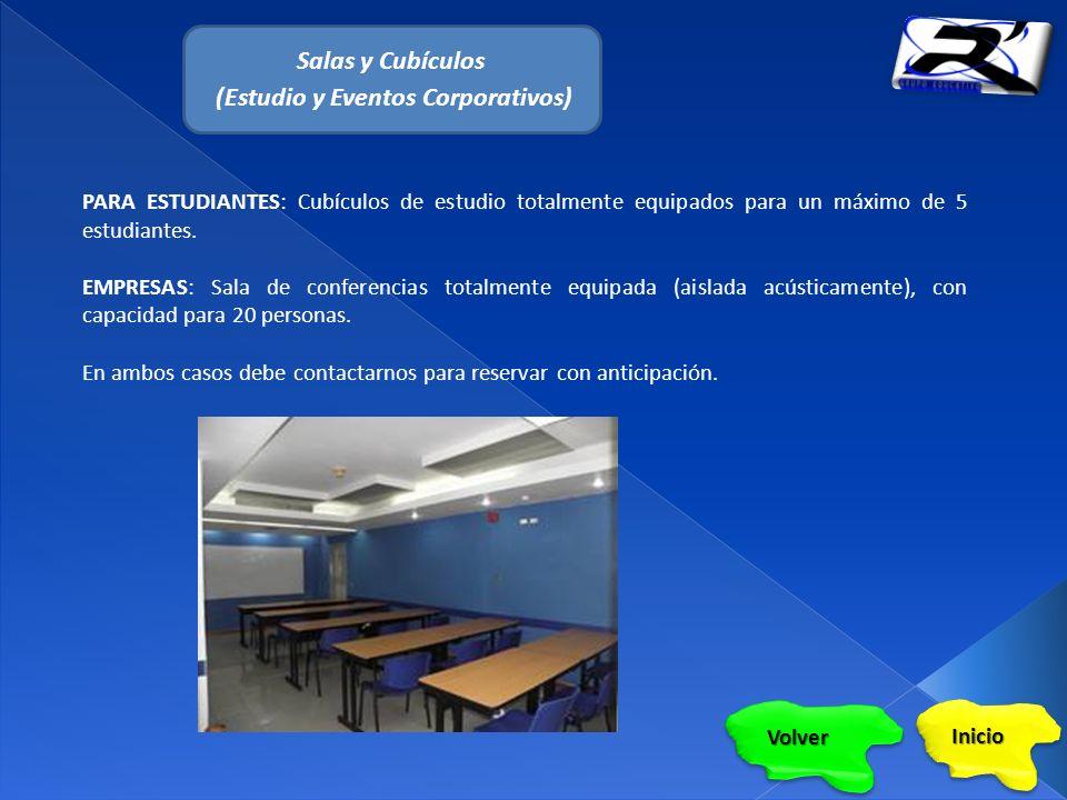 Salas y Cubículos (Estudio y Eventos Corporativos) PARA ESTUDIANTES: Cubículos de estudio totalmente equipados para un máximo de 5 estudiantes.