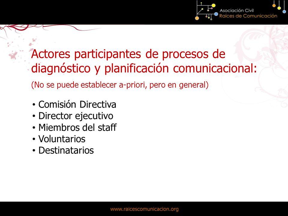 Actores participantes de procesos de diagnóstico y planificación comunicacional: (No se puede establecer a-priori, pero en general) Comisión Directiva Director ejecutivo Miembros del staff Voluntarios Destinatarios