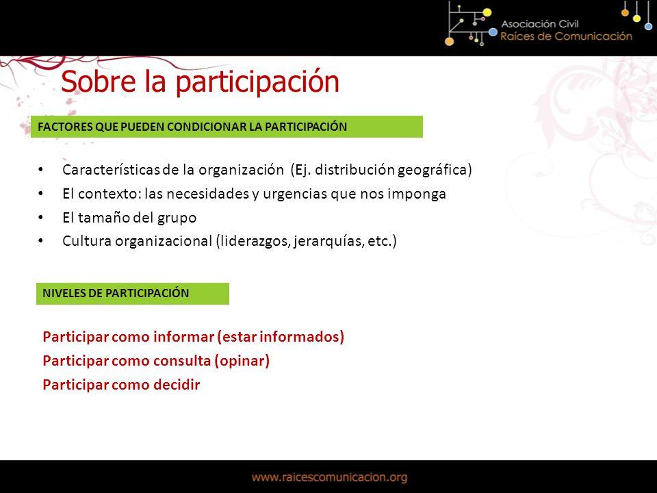 Sobre la participación Participar como informar (estar informados) Participar como consulta (opinar) Participar como decidir NIVELES DE PARTICIPACIÓN Características de la organización (Ej.
