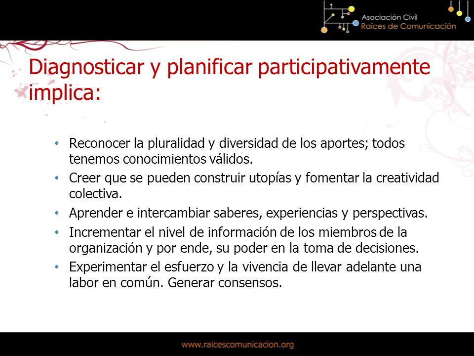 Diagnosticar y planificar participativamente implica: Reconocer la pluralidad y diversidad de los aportes; todos tenemos conocimientos válidos.
