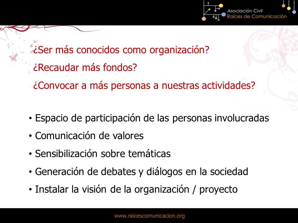 Espacio de participación de las personas involucradas Comunicación de valores Sensibilización sobre temáticas Generación de debates y diálogos en la sociedad Instalar la visión de la organización / proyecto ¿Ser más conocidos como organización.