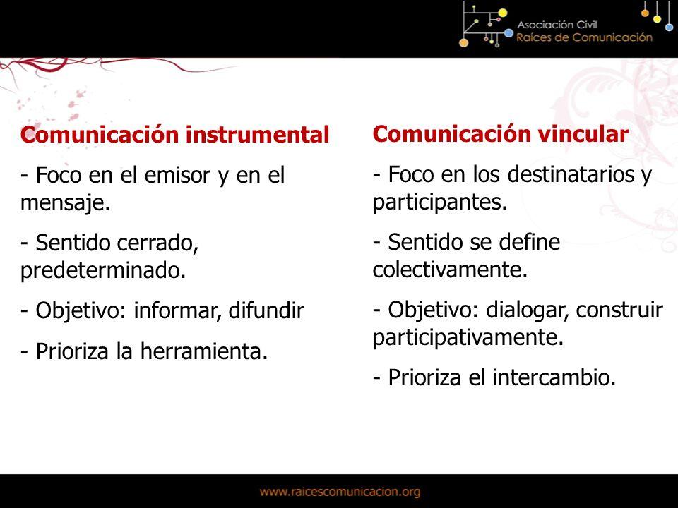 Comunicación instrumental - Foco en el emisor y en el mensaje.