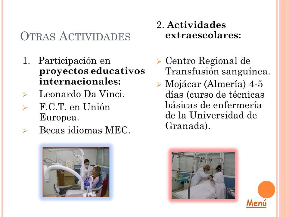 O TRAS A CTIVIDADES 1. Participación en proyectos educativos internacionales: Leonardo Da Vinci. F.C.T. en Unión Europea. Becas idiomas MEC. 2. Activi