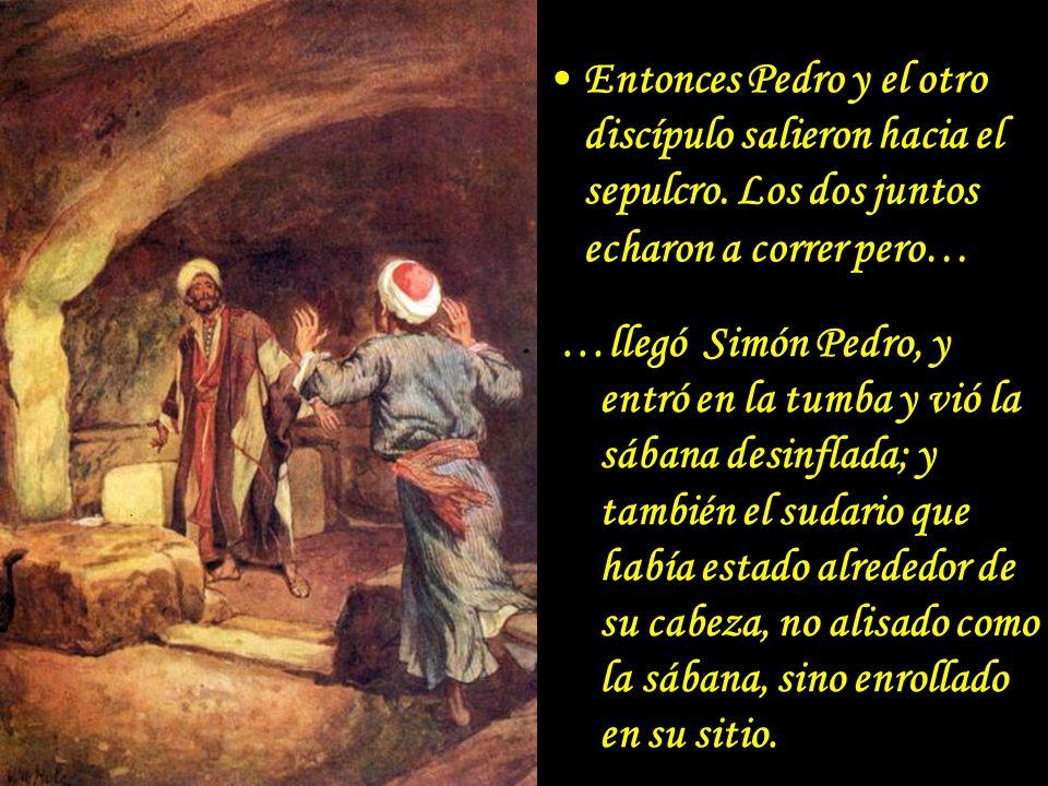 Entonces Pedro y el otro discípulo salieron hacia el sepulcro. Los dos juntos echaron a correr pero… …llegó Simón Pedro, y entró en la tumba y vió la