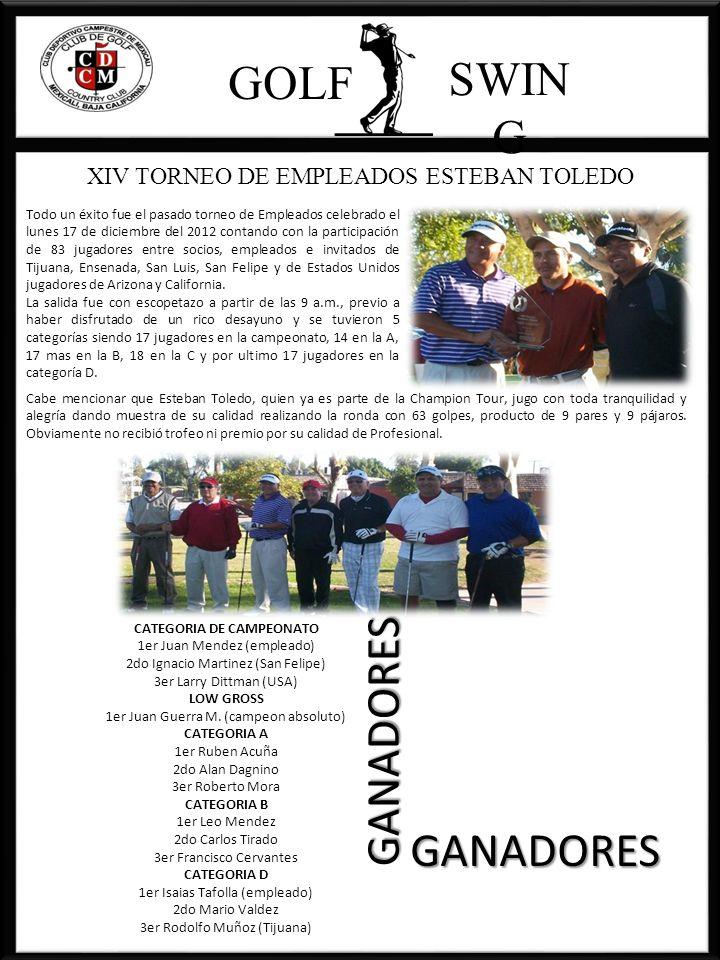 GOLF SWIN G CATEGORIA DE CAMPEONATO 1er Juan Mendez (empleado) 2do Ignacio Martinez (San Felipe) 3er Larry Dittman (USA) LOW GROSS 1er Juan Guerra M.