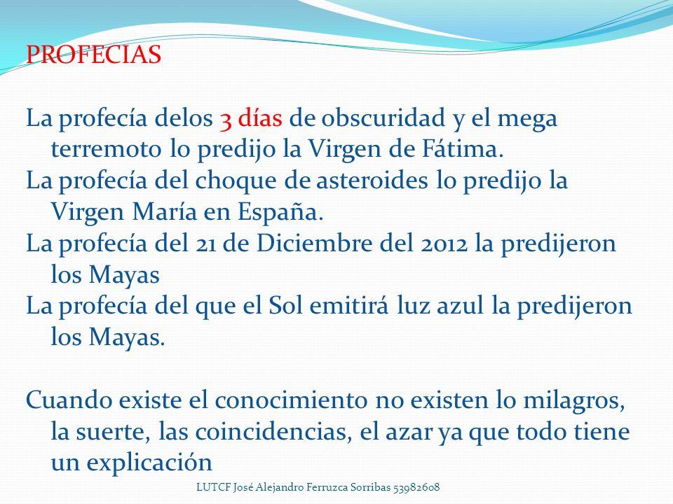 2014 EneroFebreroMarzoAbrilMayoJunioJulio Júpiter se convierte en el segundo sol Estará entrando la tierra a la 4ta Dimensión Estaremos cambiando nuestros átomos a fotones AgostoSeptiembreOctubreNoviembreDiciembre Se da la 3ra Guerra Mundial LUTCF José Alejandro Ferruzca Sorribas 53982608
