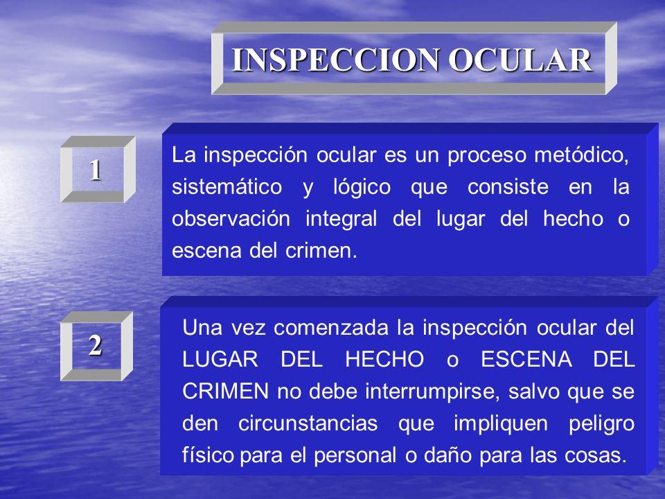 La inspección ocular es un proceso metódico, sistemático y lógico que consiste en la observación integral del lugar del hecho o escena del crimen. Una