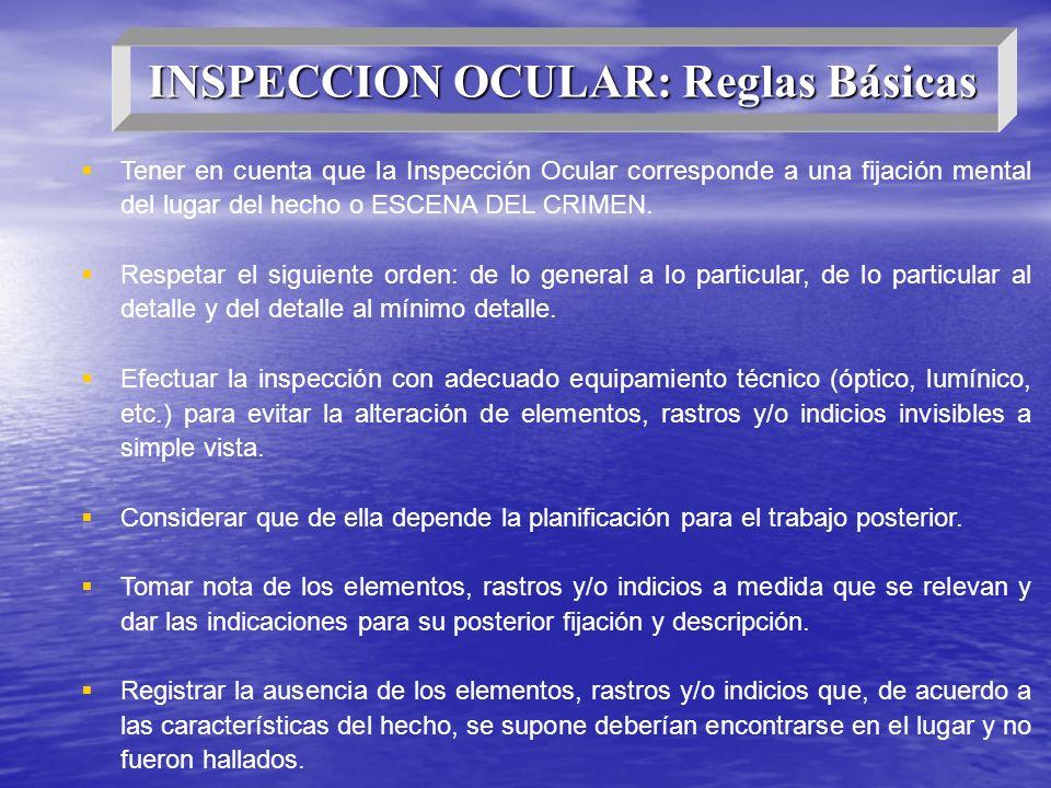 INSPECCION OCULAR: Reglas Básicas Tener en cuenta que la Inspección Ocular corresponde a una fijación mental del lugar del hecho o ESCENA DEL CRIMEN.