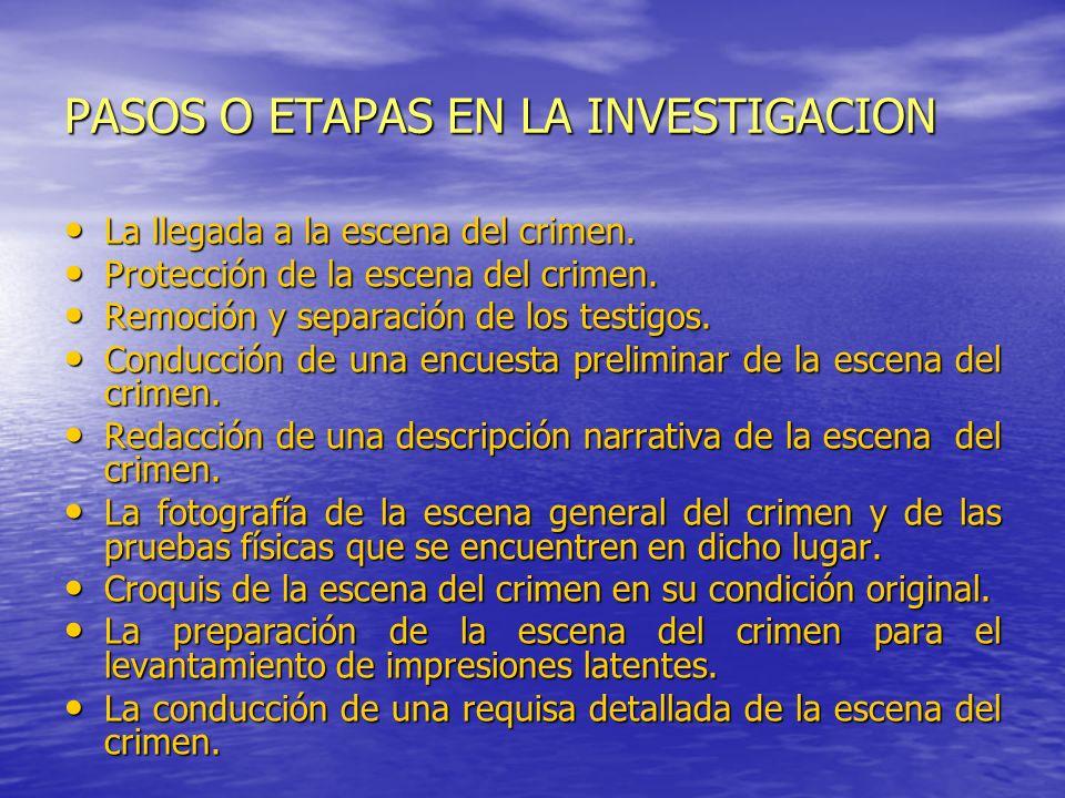 PASOS O ETAPAS EN LA INVESTIGACION La llegada a la escena del crimen. La llegada a la escena del crimen. Protección de la escena del crimen. Protecció