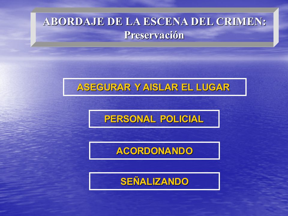 ASEGURAR Y AISLAR EL LUGAR PERSONAL POLICIAL ACORDONANDO SEÑALIZANDO ABORDAJE DE LA ESCENA DEL CRIMEN: Preservación
