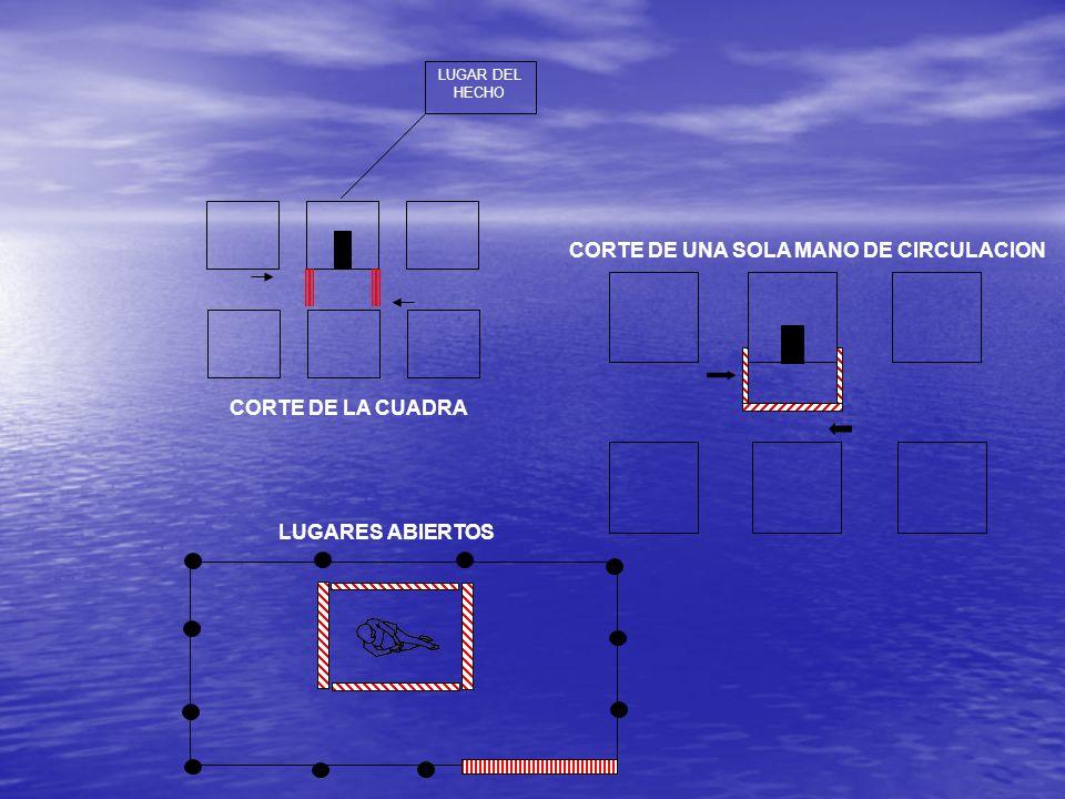 LUGAR DEL HECHO CORTE DE UNA SOLA MANO DE CIRCULACION CORTE DE LA CUADRA LUGARES ABIERTOS
