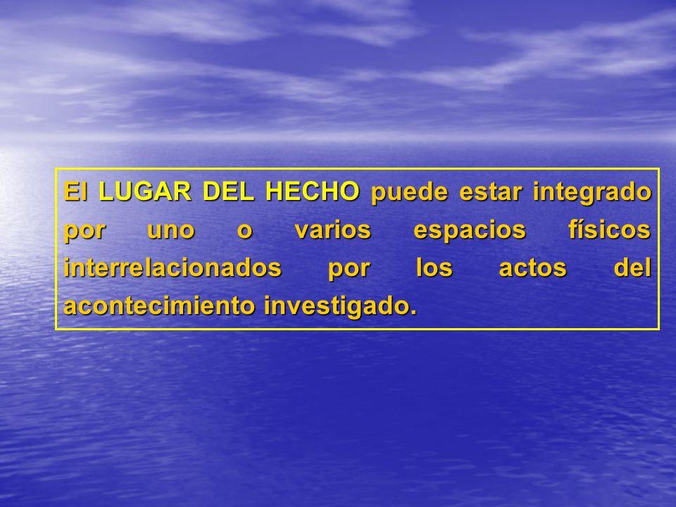 El LUGAR DEL HECHO puede estar integrado por uno o varios espacios físicos interrelacionados por los actos del acontecimiento investigado.