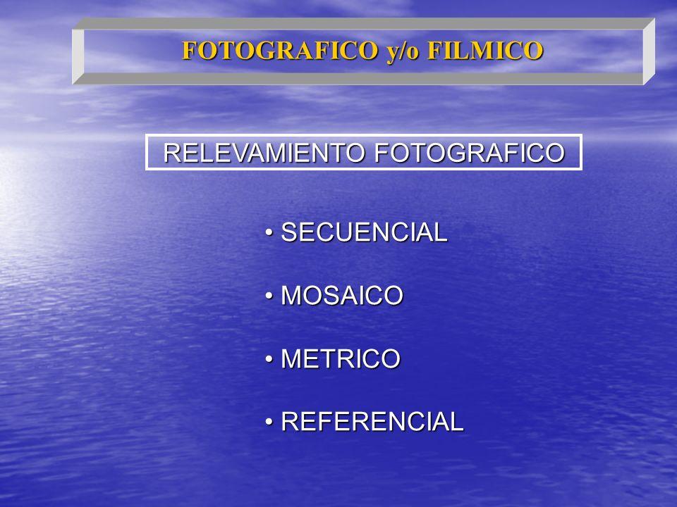 RELEVAMIENTO FOTOGRAFICO SECUENCIAL SECUENCIAL MOSAICO MOSAICO METRICO METRICO REFERENCIAL REFERENCIAL FOTOGRAFICO y/o FILMICO