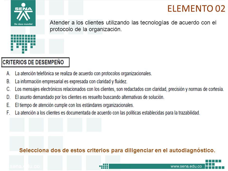 ELEMENTO 02 Atender a los clientes utilizando las tecnologías de acuerdo con el protocolo de la organización. Selecciona dos de estos criterios para d
