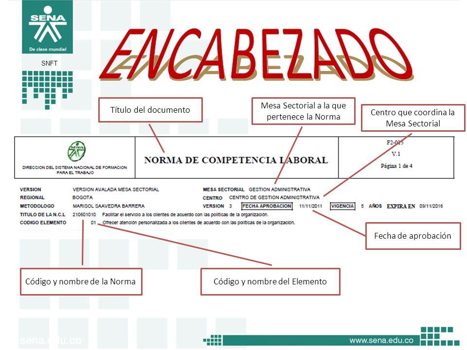 SNFT Título del documento Mesa Sectorial a la que pertenece la Norma Centro que coordina la Mesa Sectorial Fecha de aprobación Código y nombre de la N