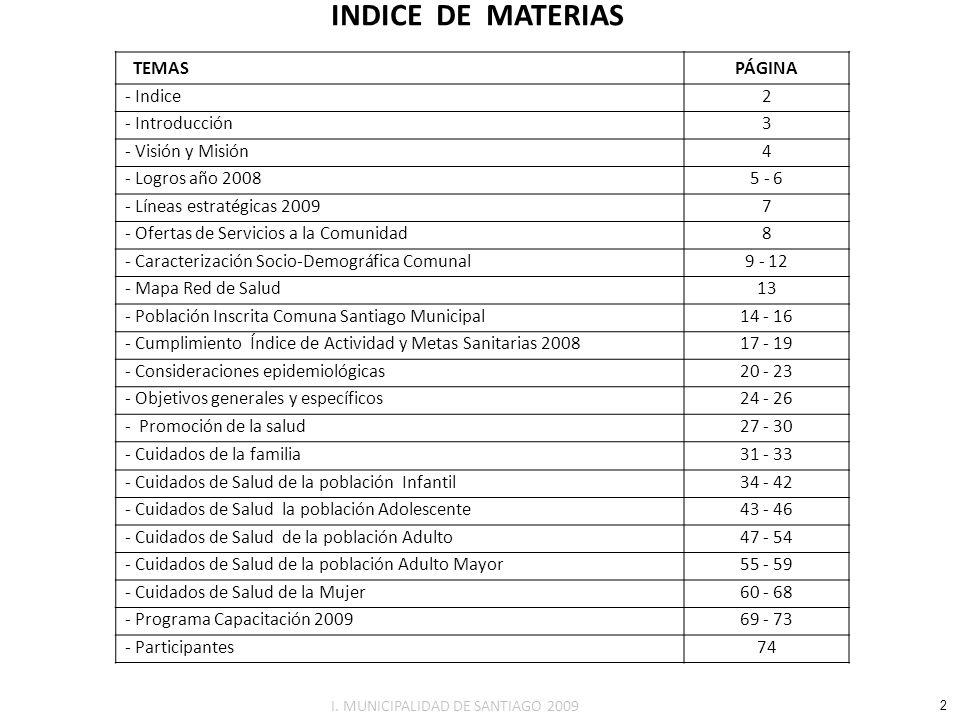 INDICE DE MATERIAS TEMASPÁGINA - Indice2 - Introducción3 - Visión y Misión4 - Logros año 20085 - 6 - Líneas estratégicas 20097 - Ofertas de Servicios
