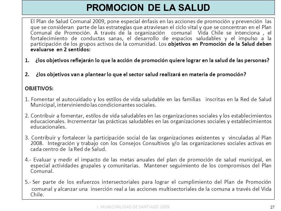 PROMOCION DE LA SALUD El Plan de Salud Comunal 2009, pone especial énfasis en las acciones de promoción y prevención las que se consideran parte de la