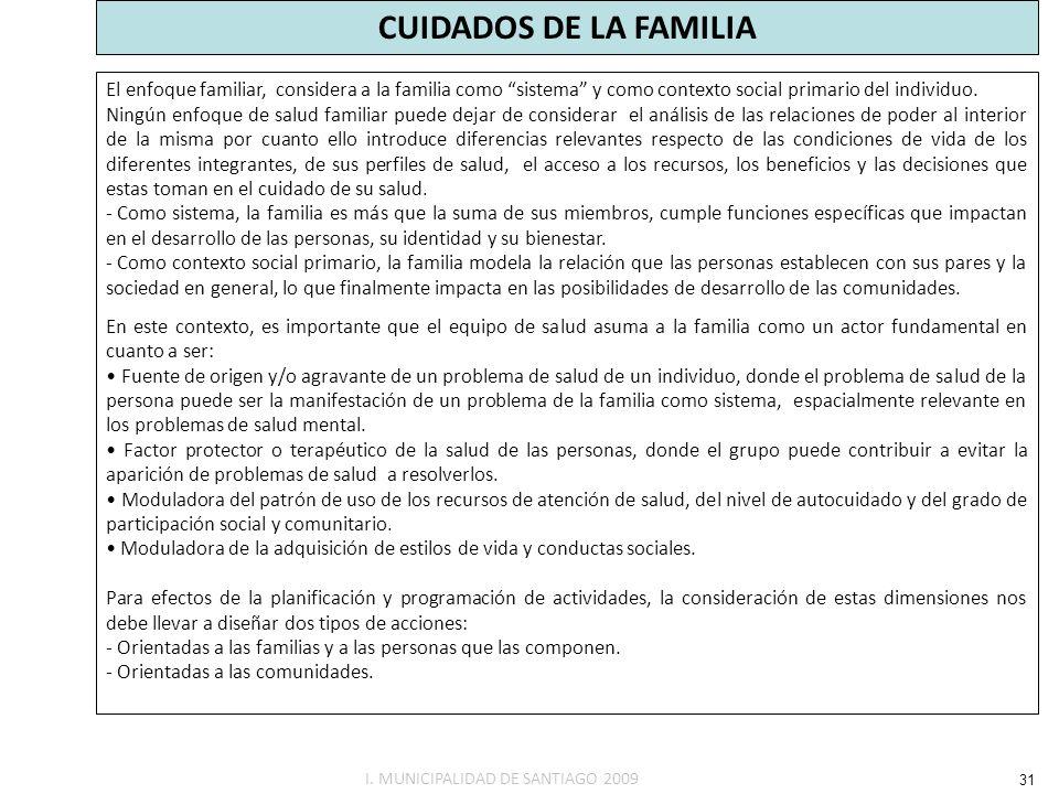 CUIDADOS DE LA FAMILIA El enfoque familiar, considera a la familia como sistema y como contexto social primario del individuo. Ningún enfoque de salud