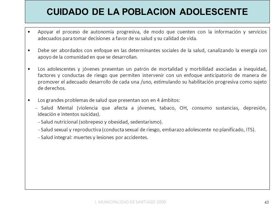 CUIDADO DE LA POBLACION ADOLESCENTE Apoyar el proceso de autonomía progresiva, de modo que cuenten con la información y servicios adecuados para tomar