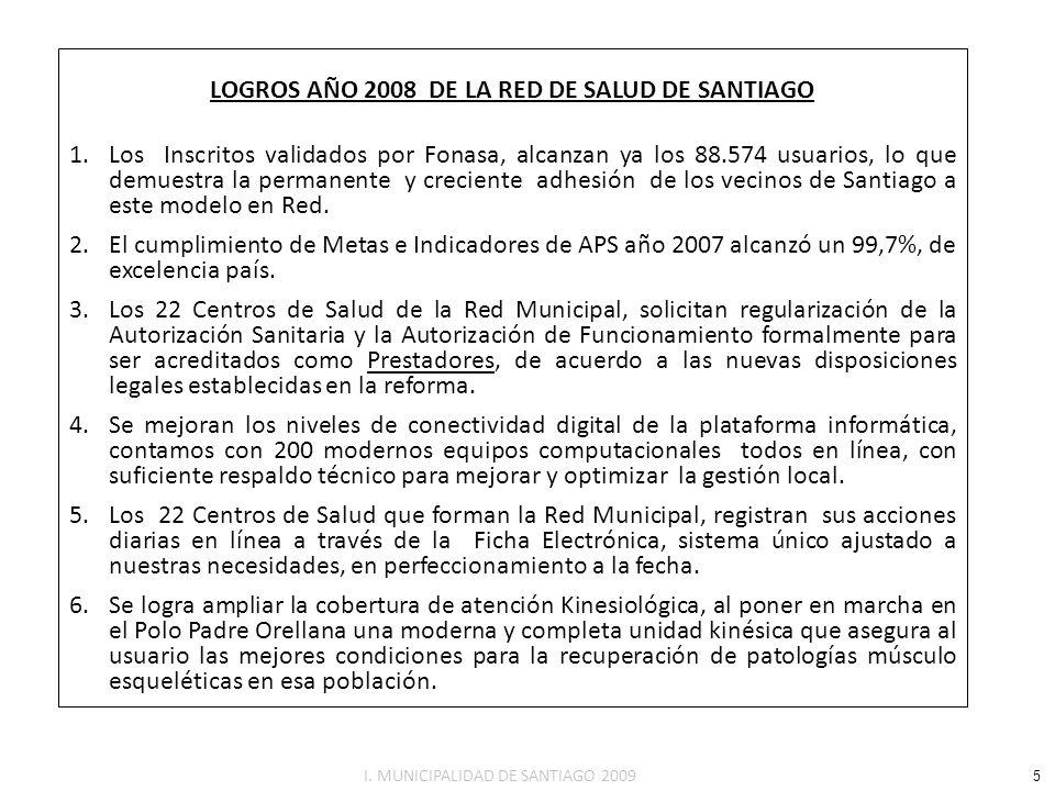 8.945 5.227 5.955 27.731 19.675 16.926 0 a 9 10 a 14 15 a 19 20 a 44 45 a 64 65 y mas Rangos Etáreos Porcentaje/cantidad beneficiarios ESTRUCTURA ETÁREA DE LA POBLACIÓN INSCRITA EN LA RED DE SANTIAGO La estructura etàrea y por genero de la población validada en la Red de Salud Municipal de Santiago, denota una Población envejecida como se advirtió en puntos anteriores, con un bajo porcentaje de menores de 15 años y un alto porcentaje de mayores de 65 años, como se demuestra en el Grafico ( 84.479 beneficiarios) PACIENTES POR DIFERENTES GRUPOS ETAREOS / INSCRITOS VALIDADOS A JUNIO 2008 (Fuente: Unidad de Estadísticas Dirección de Salud.) (10,59%) (6,19%) (7,05%) (32,83%) (23,32%) (20,04%) 48.324 36.155 16 I.