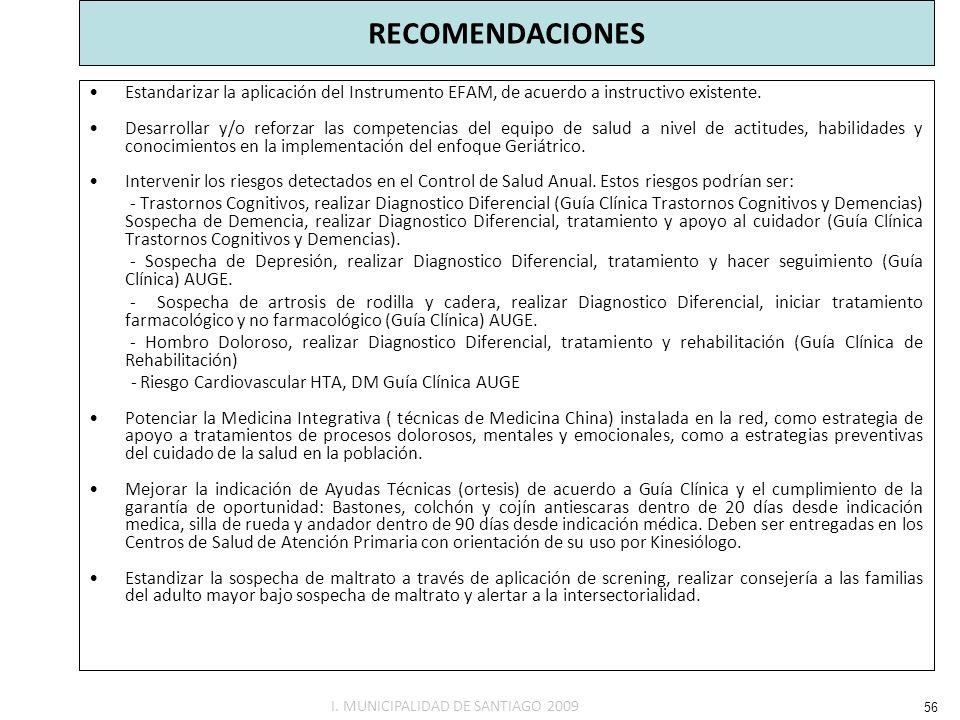 RECOMENDACIONES Estandarizar la aplicación del Instrumento EFAM, de acuerdo a instructivo existente. Desarrollar y/o reforzar las competencias del equ