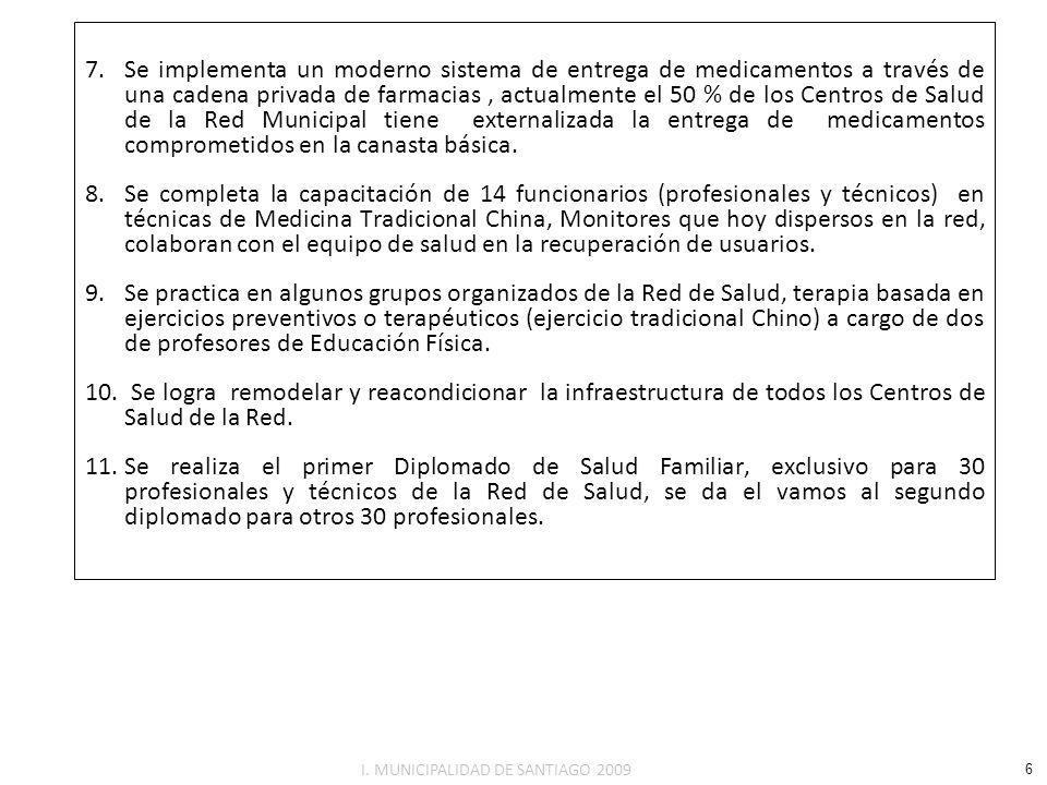 CUMPLIMIENTO DEL INDICE DE ACTIVIDADES DE LA ATENCION PRIMARIA Y METAS SANITARIAS AÑO 2008 El Ministerio de Salud fijo las Metas Sanitarias y de Mejoramiento de la Atención Primaria para el año 2008, y de cuyo cumplimiento dependerá la percepción de la asignación de desarrollo y estimulo al desempeño colectivo por los establecimientos de Atención Primaria de Salud, regidos por la Ley 20.157 y Ley 20.250 (respecto de estos indicadores, la falta de conexión al sistema Citoexpert en red con el Servicio de Salud Central, no permite informar el % de cumplimiento de PAP a la fecha según se muestra en cuadro siguiente.) METAS SANITARIAS 2008(%) Meta Anual SEPTIEMBRE 2008 (%) Cumplimiento Cobertura Evaluación Desarrollo Psicomotor (DSM)9072,3 Cobertura Papanicolau80----- Altas Odontológicas Adolescentes de 12 años6553,1 Altas Odontológicas Primigestas7564,8 Compensación Pacientes Diabéticos Bajo Control3344,6 Compensación Pacientes Hipertensos Bajo Control5561,8 Porcentaje Niños Obesos y Sobrepeso107,9 Mujeres Obesas y con Sobrepeso al 6to.