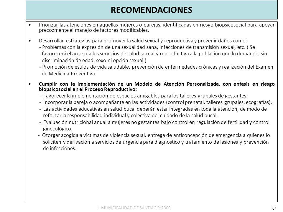 RECOMENDACIONES Priorizar las atenciones en aquellas mujeres o parejas, identificadas en riesgo biopsicosocial para apoyar precozmente el manejo de fa