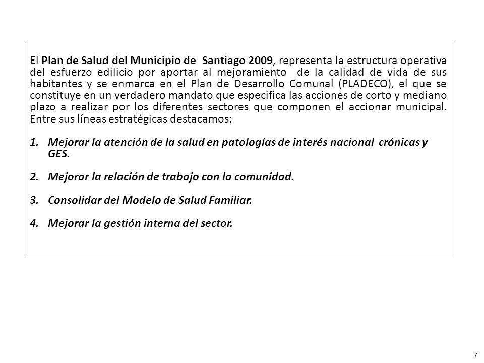 El Plan de Salud del Municipio de Santiago 2009, representa la estructura operativa del esfuerzo edilicio por aportar al mejoramiento de la calidad de