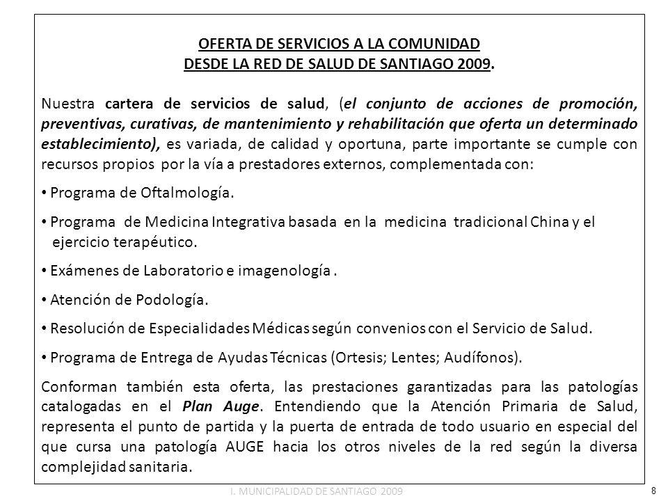 OFERTA DE SERVICIOS A LA COMUNIDAD DESDE LA RED DE SALUD DE SANTIAGO 2009. Nuestra cartera de servicios de salud, (el conjunto de acciones de promoció