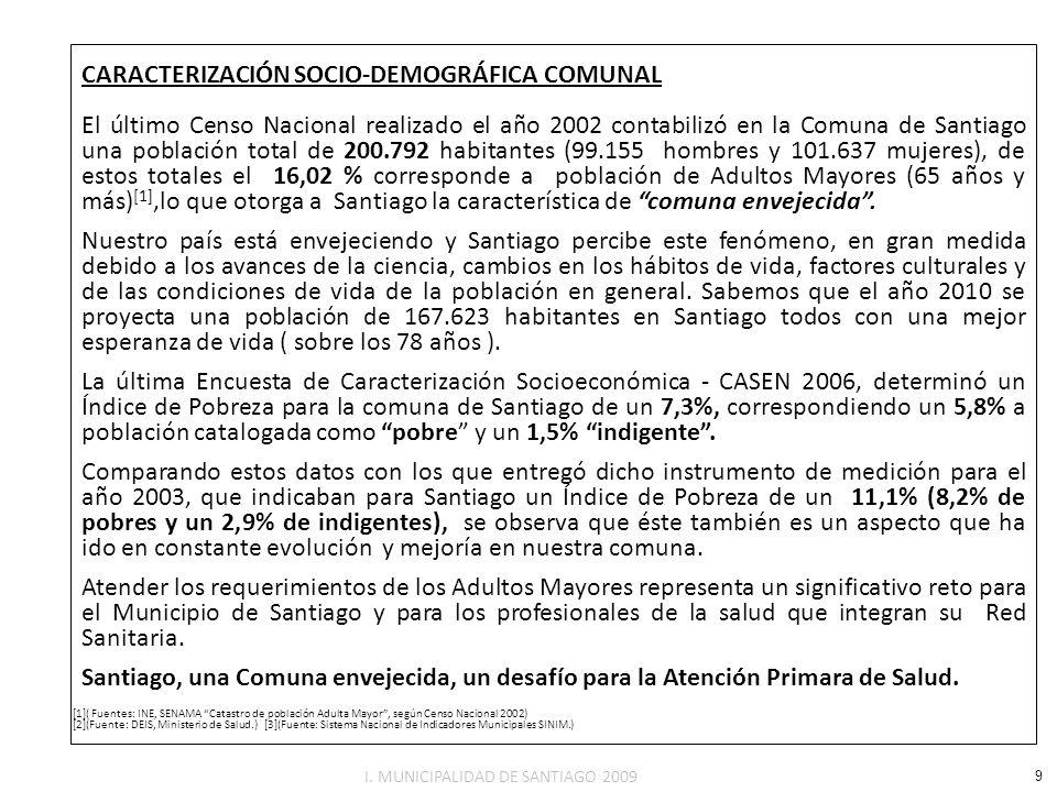 CARACTERIZACIÓN SOCIO-DEMOGRÁFICA COMUNAL El último Censo Nacional realizado el año 2002 contabilizó en la Comuna de Santiago una población total de 2