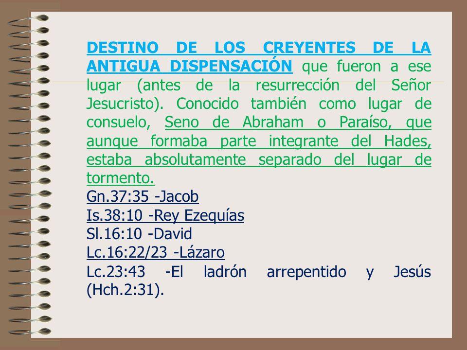 DESTINO DE LOS CREYENTES DE LA ANTIGUA DISPENSACIÓN que fueron a ese lugar (antes de la resurrección del Señor Jesucristo).