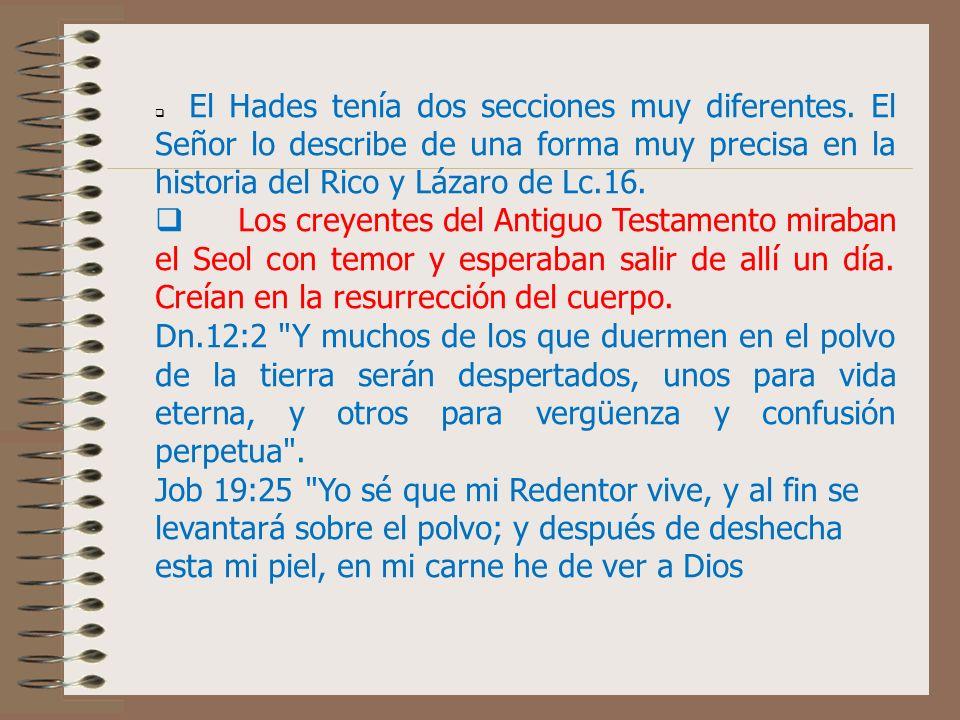 DESTINO DE LOS CREYENTES DE LA ANTIGUA DISPENSACIÓN que fueron a ese lugar (antes de la resurrección del Señor Jesucristo). Conocido también como luga