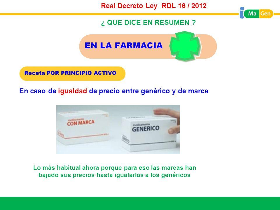 Titular Real Decreto Ley RDL 16 / 2012 En caso de igualdad de precio entre genérico y de marca Lo más habitual ahora porque para eso las marcas han ba