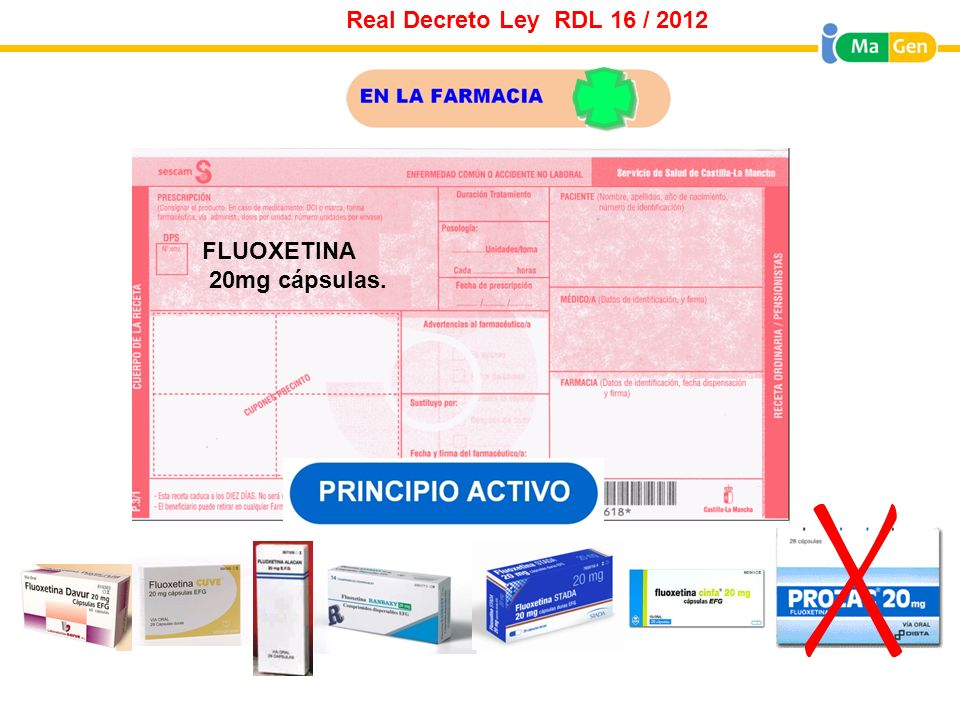 FLUOXETINA 20mg cápsulas. Real Decreto Ley RDL 16 / 2012