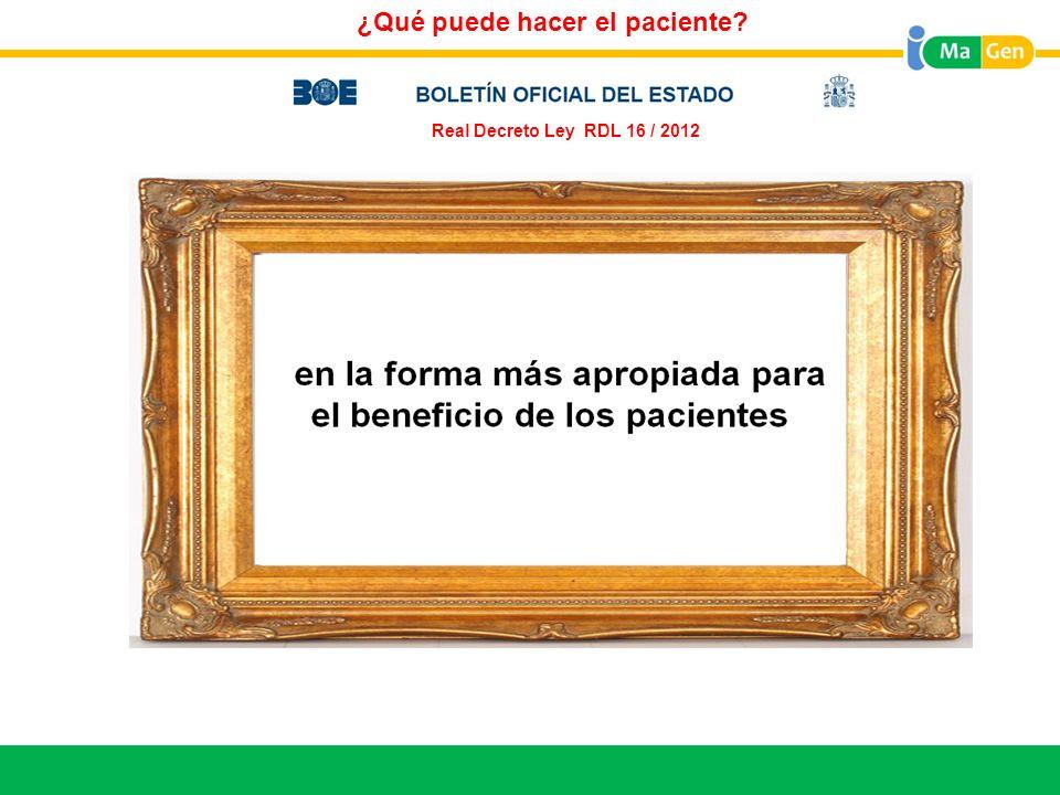 Titular ¿Qué puede hacer el paciente? Real Decreto Ley RDL 16 / 2012