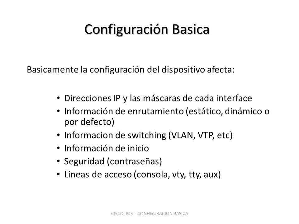 Configuración Basica Basicamente la configuración del dispositivo afecta: Direcciones IP y las máscaras de cada interface Información de enrutamiento