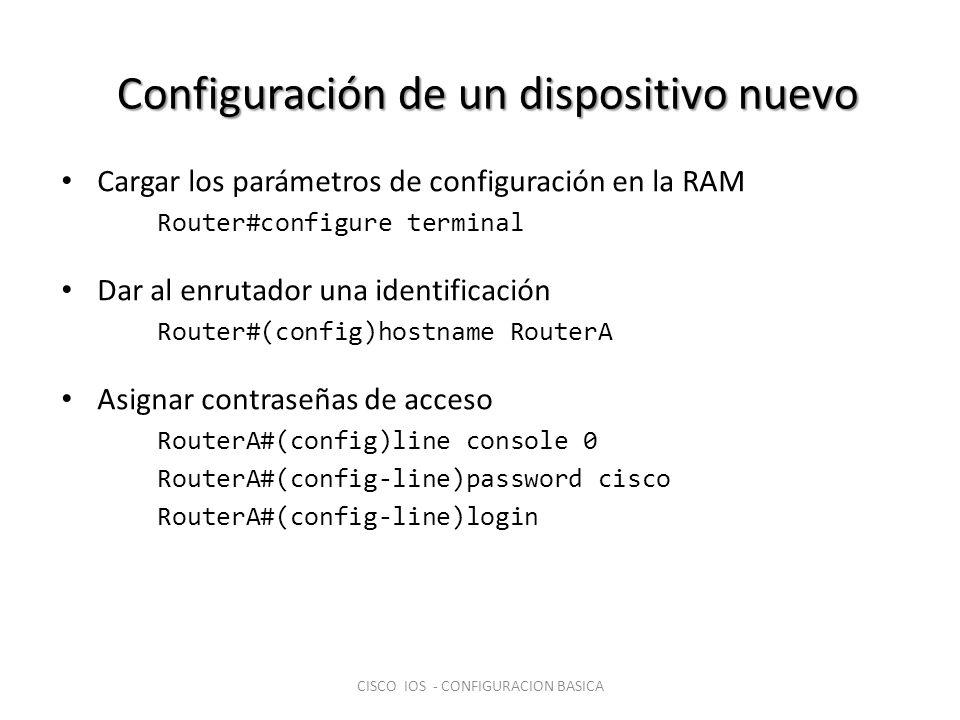 Configuración de un dispositivo nuevo Cargar los parámetros de configuración en la RAM Router#configure terminal Dar al enrutador una identificación R