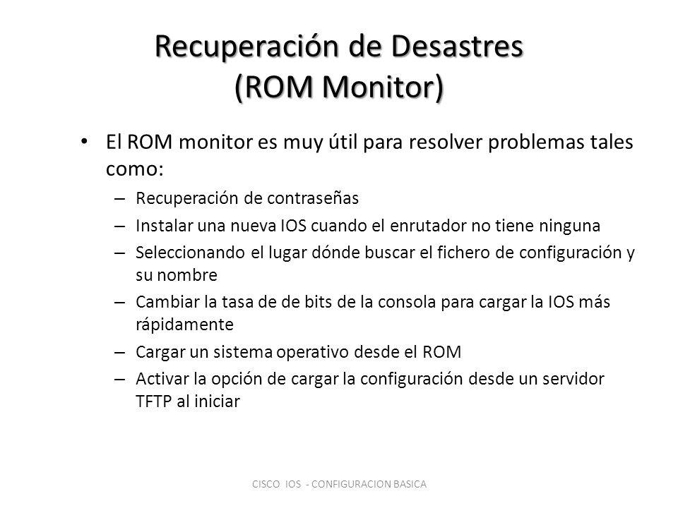 Recuperación de Desastres (ROM Monitor) El ROM monitor es muy útil para resolver problemas tales como: – Recuperación de contraseñas – Instalar una nu