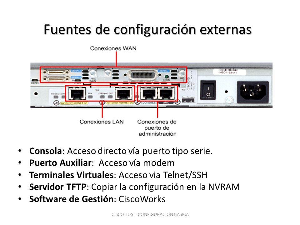 Configuración de un dispositivo nuevo Configurar interfaces RouterA#(config)interface ethernet 0/0 RouterA#(config-if)ip address n.n.n.n m.m.m.m RouterA#(config-if)no shutdown Configurar protocolos (routing o swtiching) Guardar la configuración en NVRAM RouterA#copy running-config startup-config o RouterA#write memory CISCO IOS - CONFIGURACION BASICA