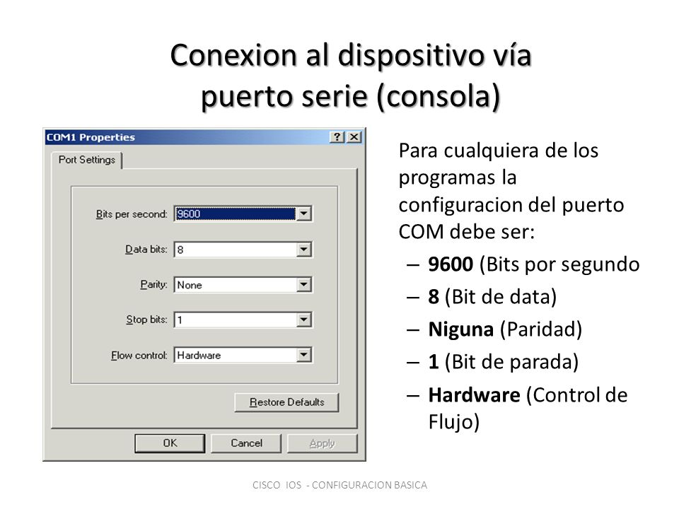 Para cualquiera de los programas la configuracion del puerto COM debe ser: – 9600 (Bits por segundo – 8 (Bit de data) – Niguna (Paridad) – 1 (Bit de p