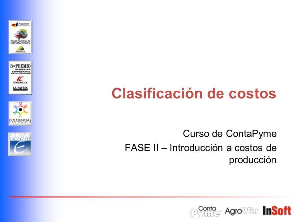 Clasificación de costos Curso de ContaPyme FASE II – Introducción a costos de producción