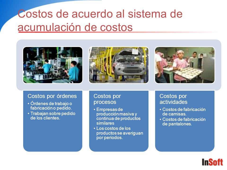 Costos de acuerdo al sistema de acumulación de costos Costos por órdenes Órdenes de trabajo o fabricación o pedido. Trabajan sobre pedido de los clien
