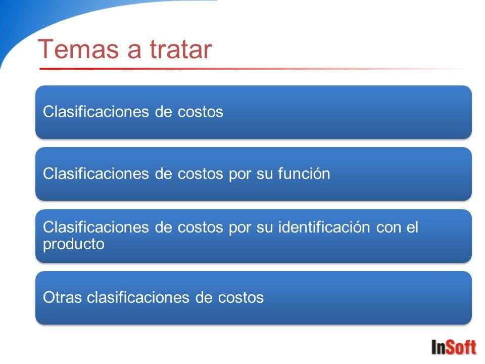 Temas a tratar Clasificaciones de costosClasificaciones de costos por su función Clasificaciones de costos por su identificación con el producto Otras